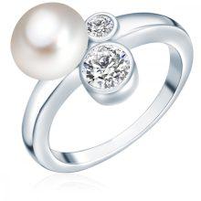 ValeroGyöngys gyűrű Sterling ezüst Süßwasser-ZuchtGyöngy Fehércirkónia Fehér gombform gyűrű 52