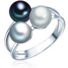 ValeroPearls Gyűrű Ékszer Sterling ezüst Süßwasser-ZuchtGyöngyngrau / ezüstgrau / Kék gyűrű 54