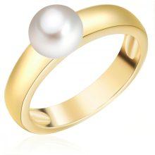 ValeroGyöngys gyűrű Sterling ezüst gelbAranyozott Süßwasser-ZuchtGyöngy Fehér gyűrű 54