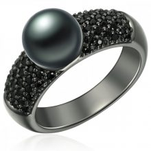 ValeroPearls Gyűrű Ékszer Sterling ezüst geschwärzt Süßwasser-ZuchtGyöngy pfauenKék cirkónia Fekete gyűrű 58