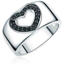 RafaelaDonata gyűrű Sterling ezüst cirkónia Feketeszívform gyűrű 60