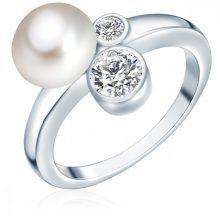 ValeroGyöngys gyűrű Sterling ezüst Süßwasser-ZuchtGyöngy Fehércirkónia Fehér gombform gyűrű 54