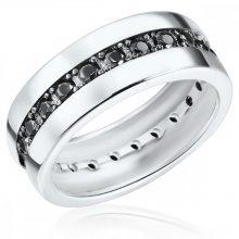 RafaelaDonata gyűrű Sterling ezüst cirkónia Fekete gyűrű 50