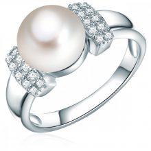 ValeroGyöngys gyűrű Sterling ezüst Süßwasser-ZuchtGyöngy Fehérgombform cirkónia Fehér gyűrű 50