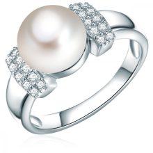 ValeroGyöngys gyűrű Sterling ezüst Süßwasser-ZuchtGyöngy Fehérgombform cirkónia Fehér gyűrű 58