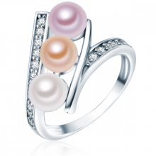 ValeroGyöngys gyűrű Sterling ezüst -gyöngy Fehér /apricot / flieder cirkónia Fehér gyűrű 52