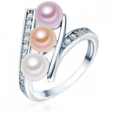 Valero Pearls gyűrű Sterling ezüst Süßwasser-ZuchtGyöngyn Fehér /apricot / flieder cirkónia Fehér gyűrű 54