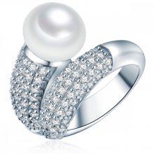 ValeroGyöngys gyűrű Sterling ezüst Süßwasser-ZuchtGyöngy Fehércirkónia Fehér Pavé gyűrű 52