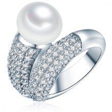 ValeroGyöngys gyűrű Sterling ezüst Süßwasser-ZuchtGyöngy Fehércirkónia Fehér Pavé gyűrű 54