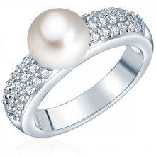 ValeroGyöngys gyűrű Sterling ezüst Süßwasser-ZuchtGyöngy Fehércirkónia Fehér facettiert gyűrű 52