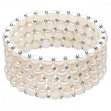 Valero Pearls karkötő Süßwasser-ZuchtGyöngyn Fehér ca. 6,0-6,5 mmSterling ezüst Zwischenkügelchen