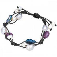 Valero Pearls karkötő valódi bőr Fekete Süßwasser-ZuchtGyöngynFehér /Szürke/ pfauenKék Amethyst lila