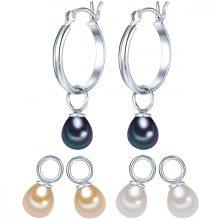 ValeroGyöngys fülbevaló Sterling ezüst tartalmaz 3-er szett EinhängerSüßwasser-ZuchtGyöngyn Fehér/apricot/pfauenKék
