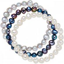 Valero Pearls 3er szett SüßwasserzuchtGyöngyn Fehér / ezüst / sötétKék karkötő