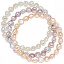 Valero Pearls 3er szett gyöngy Fehér / apricot / flieder karkötő