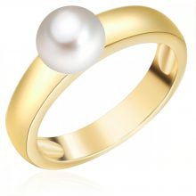 ValeroGyöngys gyűrű Sterling ezüst sárga aranyozott Süßwasser-ZuchtGyöngy Fehér gyűrű 52
