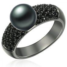 ValeroGyöngys gyűrű Sterling ezüst geschwärzt Süßwasser-ZuchtGyöngy pfauenKék cirkónia Fekete gyűrű 52
