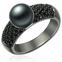 Valero Pearls gyűrű Sterling ezüst geschwärzt Süßwasser-ZuchtGyöngy pfauenKék cirkónia Fekete gyűrű 58