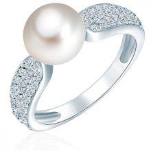 ValeroGyöngys gyűrű Sterling ezüst Süßwasser-ZuchtGyöngy Fehér cirkónia Fehér gyűrű 54