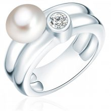 ValeroGyöngys gyűrű Sterling ezüst Süßwasser-ZuchtGyöngy Fehér cirkónia Fehér gyűrű 50