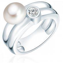 ValeroGyöngys gyűrű Sterling ezüst Süßwasser-ZuchtGyöngy Fehér cirkónia Fehér gyűrű 60