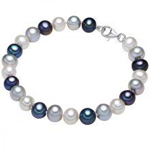Valero Pearls karkötő Sterling ezüst -gyöngy Fehér ezüstszínűn pfauenKék Hossz: 17 cm