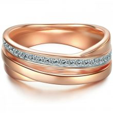 Tresor gyűrű Sterling ezüst  rosegold vörösarny Aranyozott cirkónia Fehér gyűrű 58