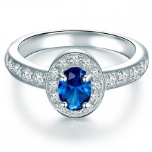 Tresor gyűrű Sterling ezüst cirkónia Kék gyűrű 50