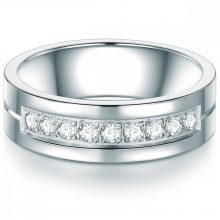 Tresor gyűrű neasztalcél cirkónia Fehér gyűrű 56