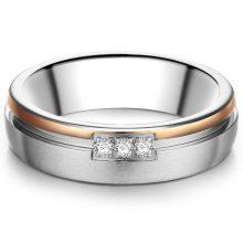 Tresor gyűrű nemesacél ezüst/ rosearany vörösarany Aranyozott cirkónia Fehér gyűrű 54