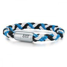 Skipper & Son Segeltau karkötő nemesacél ezüst/Kékmintás Hossz: 21 cm