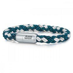 Skipper & Son Segeltau karkötő nemesacél ezüst/kékmintás Hossz: 19 cm