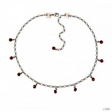 Konplott Lánc Collier Tutui Collection Piros siam ezüst