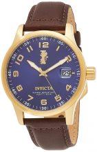 """Invicta férfi 15255 """"I-Force"""" 18k gold ion-plated színű nemesacél és barna bőr óra karóra"""