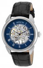 Invicta férfi 'Specialty' mechanikus kézi Wind nemesacél és bőr casual óra karóra, szín:fekete(Model: 23534)