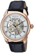 Invicta férfi 'Specialty' mechanikus kézi Wind nemesacél és bőr casual óra karóra, szín:fekete(Model: 23537)