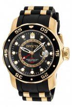 Invicta férfi Pro Diver Collection GMT 18k arany színű -nemesacél bevonatú óra karóra fekete szíj