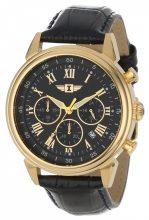Invicta férfi 90242-003 Invicta I 18k gold ion-plated színű - nemesacél óra karóra val fekete bőr szíj