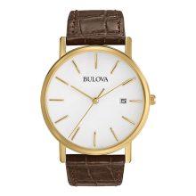 Bulova férfi 97B100 arany színű - nemesacél óra karóra val barna bőr szíj
