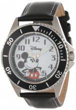 Disney férfi W000518 Mickey Mouse Honor bőr szíj óra karóra