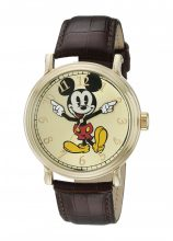 Disney férfi W001848 Mickey Mouse analóg kijelző analóg Quartz barna óra karóra