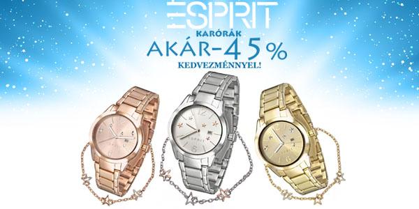 Esprit karórák akár -45% kedvezménnyel!