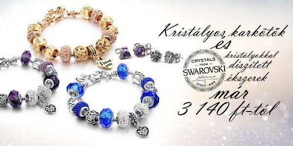 Kristályos karkötők és Swarovski kristályokkal díszített ékszerek 3 140 Ft-tól!